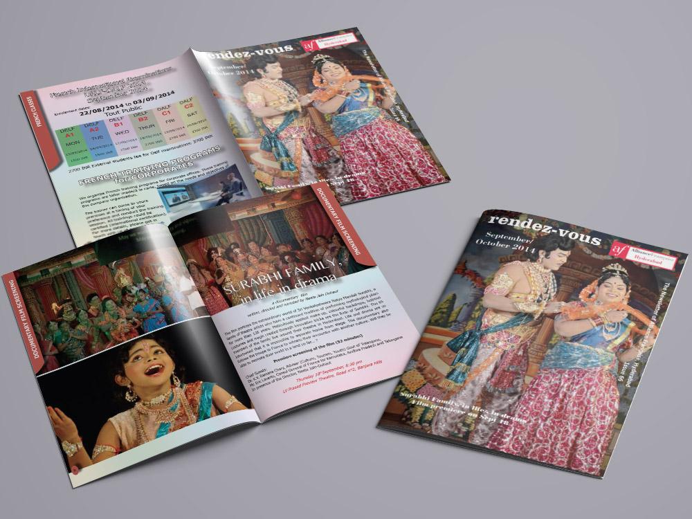 CLIENT: ALLIANCE FRANÇAISE D'HYDERABAD.  Création de la newsletter de l'Alliance Française d'Hyderabad pour les événements des mois de Septembre et Octobre 2014