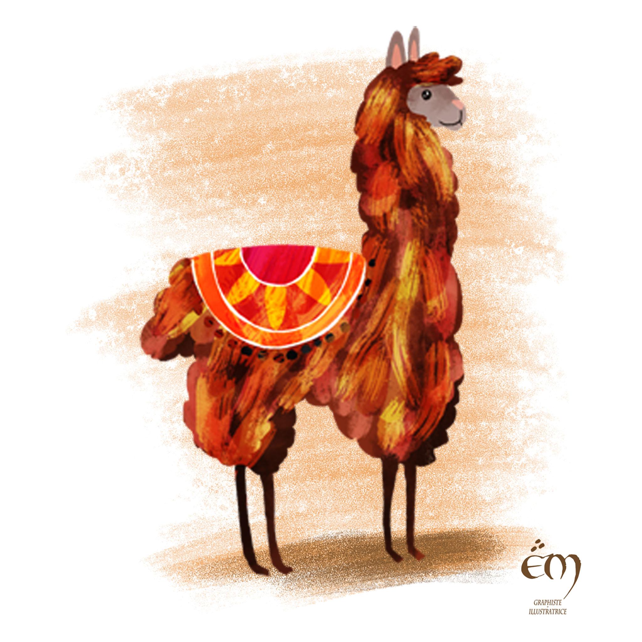 "ANIMAL ILLUSTRATION ""Un lama"" Peinture numérique  ""A llama"" Digital painting"