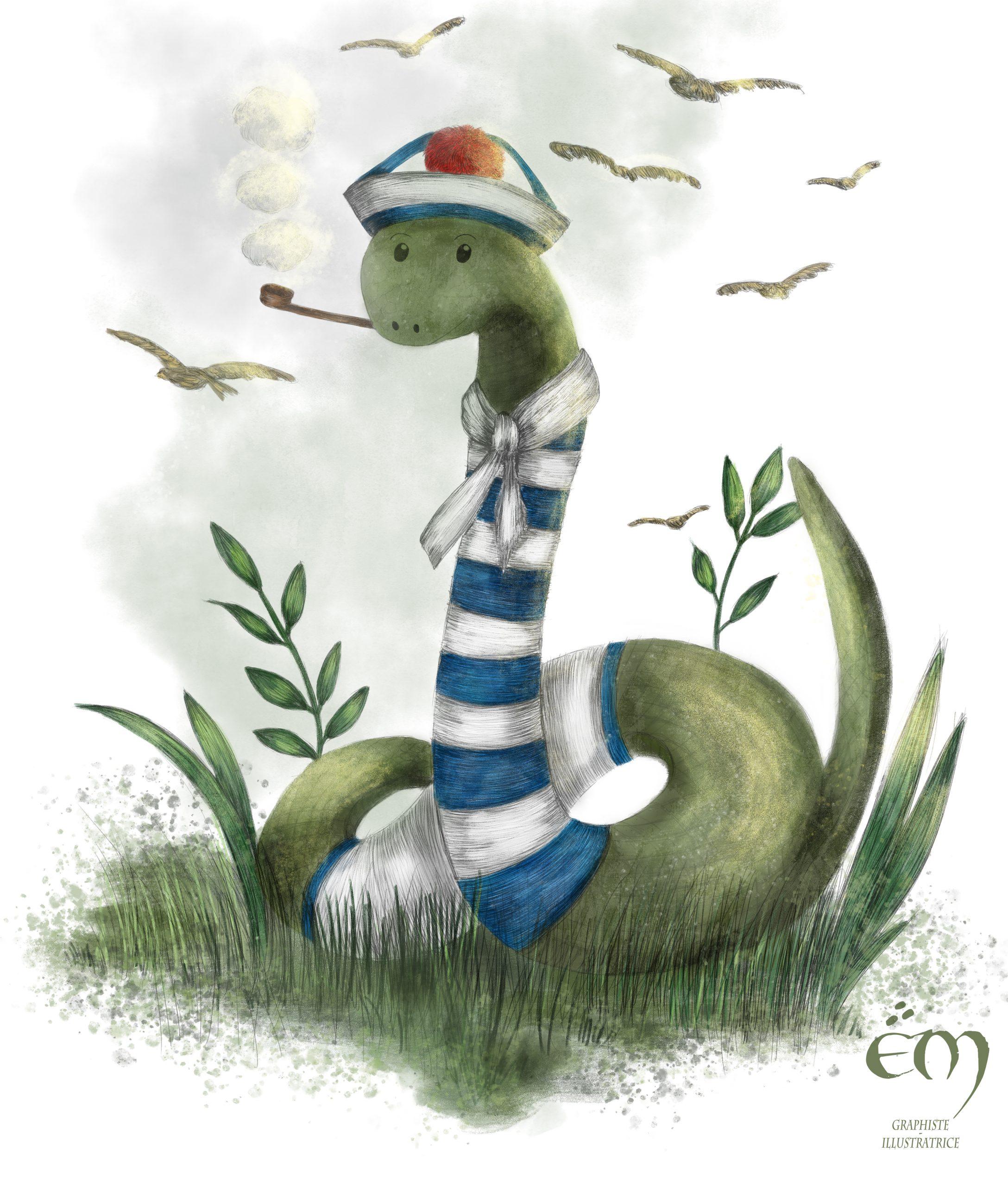 """ANIMAL ILLUSTRATION """"Le Serpent Marin"""" Peinture numérique  """"The Marine Snake"""" Digital painting"""