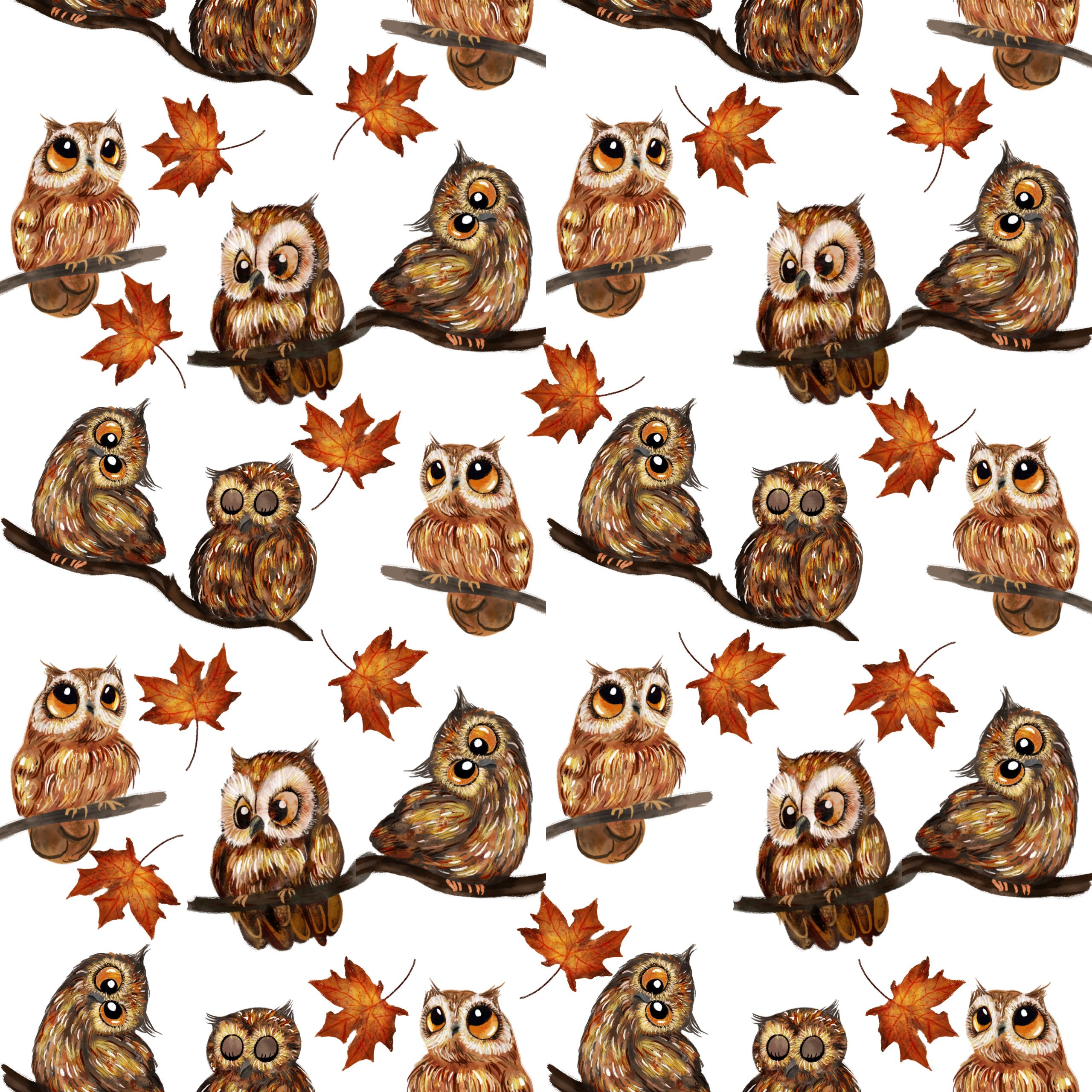 "TEXTILES PATTERNS  ""OWLS"""