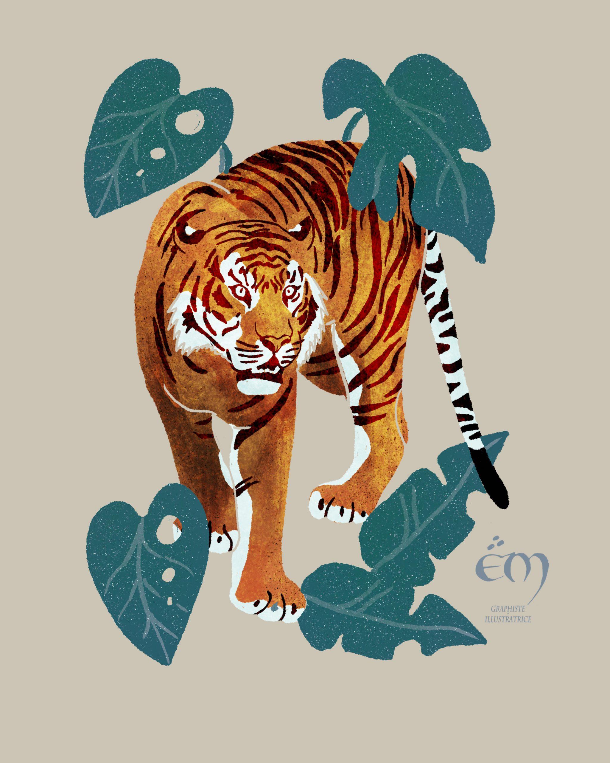 "ANIMAL ILLUSTRATION  ""Tigre"" Peinture numérique  ""Tiger,tiger"" Digital painting"