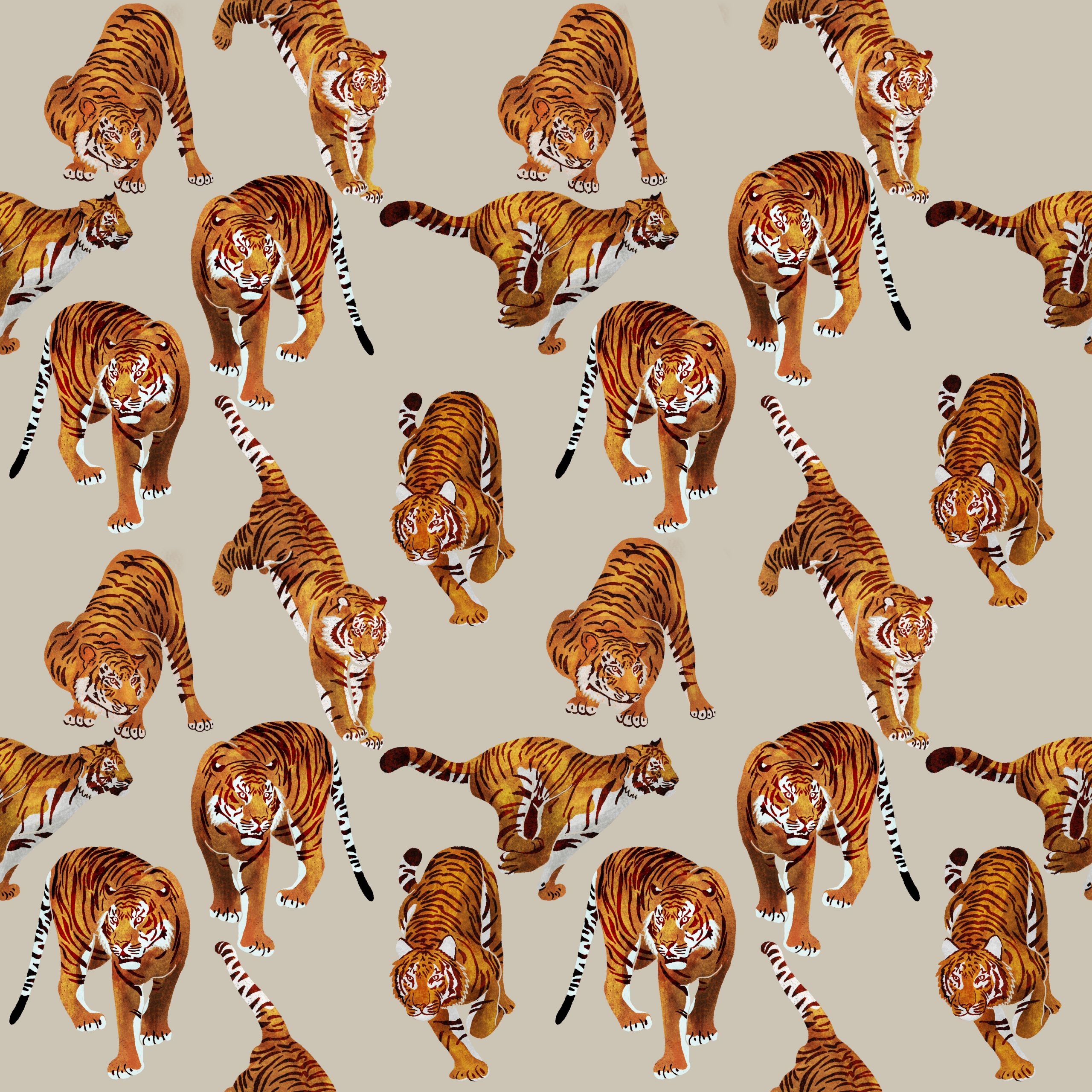 "TEXTILES PATTERNS  ""TIGER, TIGERS"""