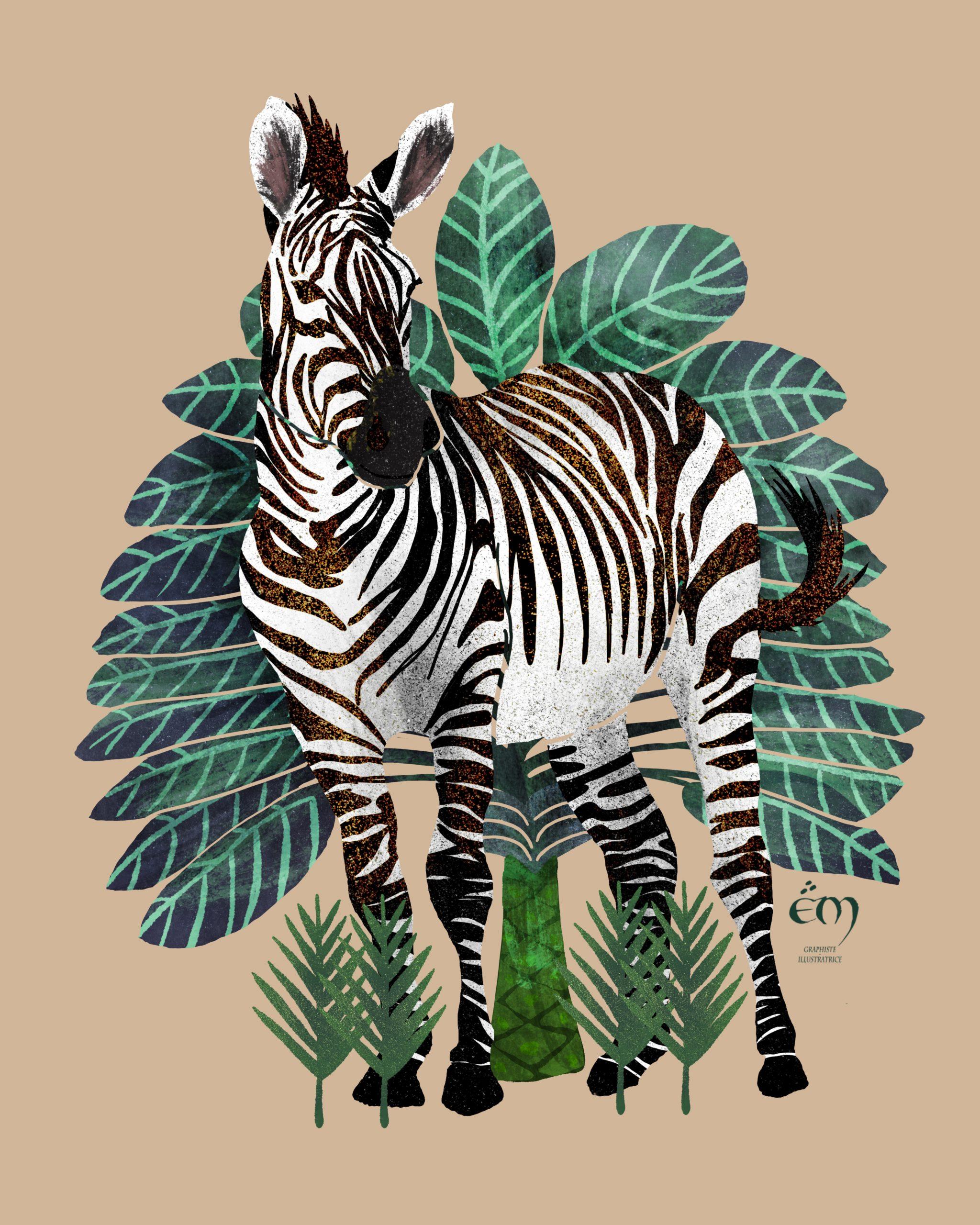 """ANIMAL ILLUSTRATION  """"Zèbre"""" Peinture numérique  """"Zebra"""" Digital painting"""