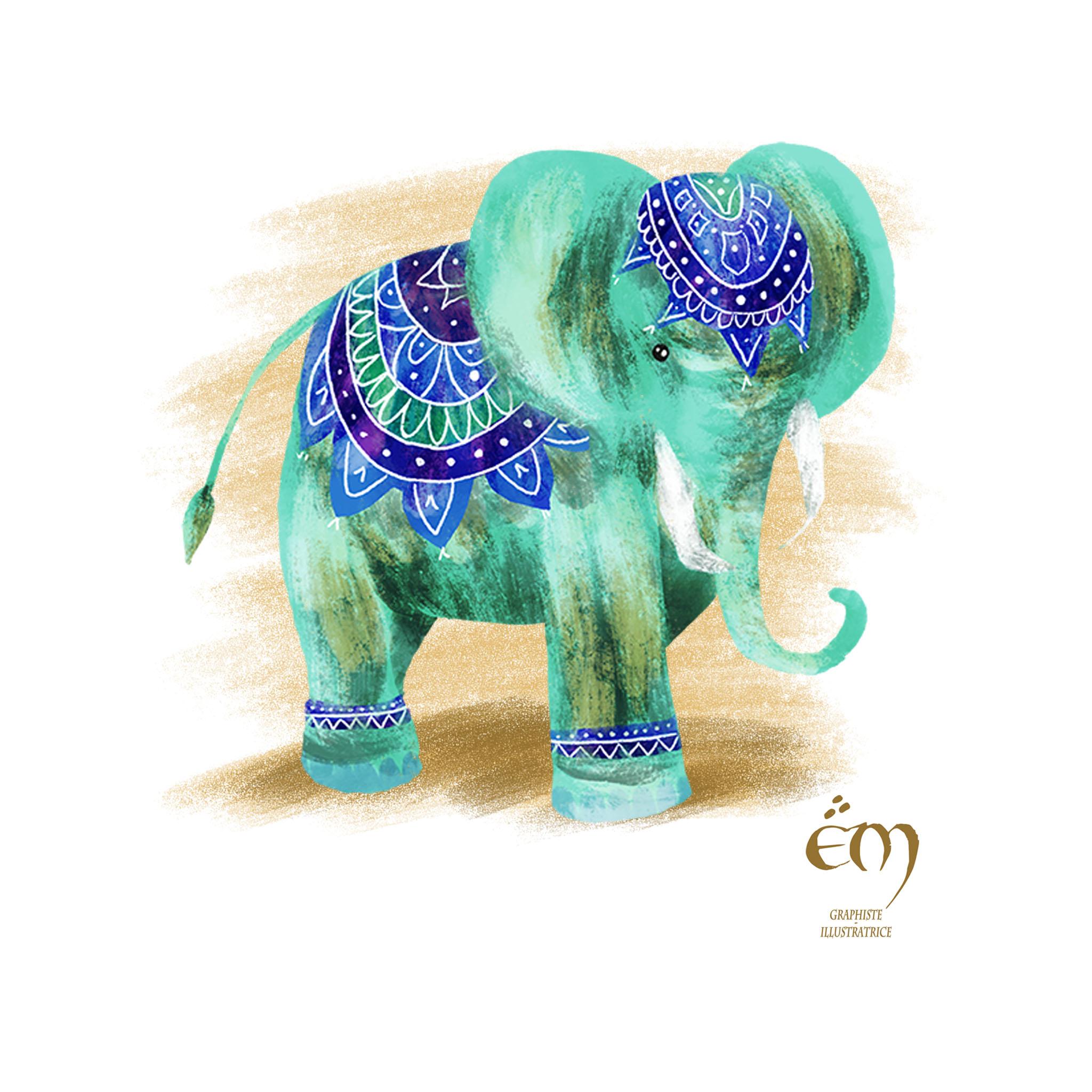 """ANIMAL ILLUSTRATION """"Un éléphant"""" Peinture numérique  """"An elephant"""" Digital painting"""