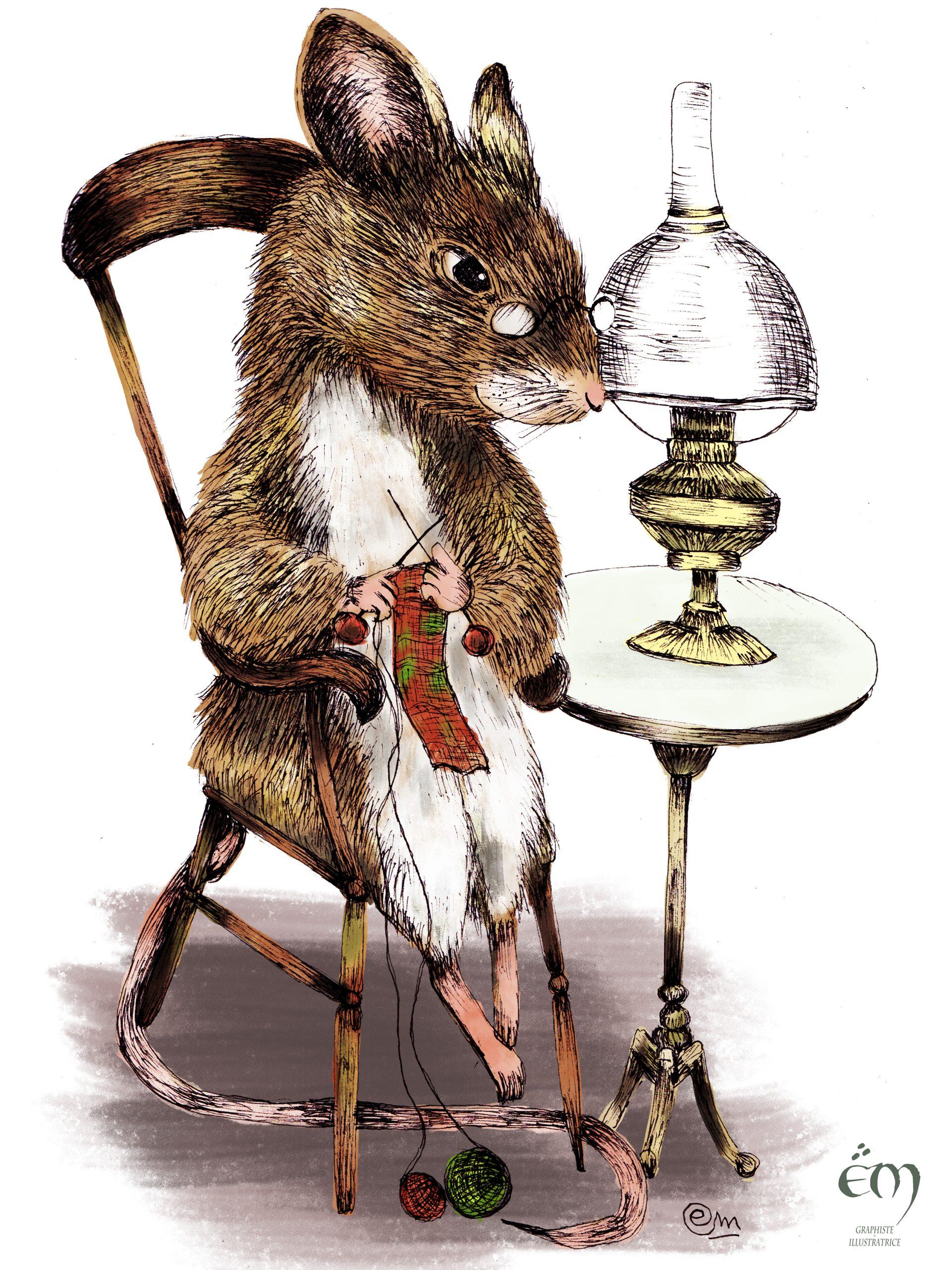 """ANIMAL ILLUSTRATION """"La Grand-mère Souris"""" Peinture numérique  """"The Grandmother mouse"""" Digital painting"""
