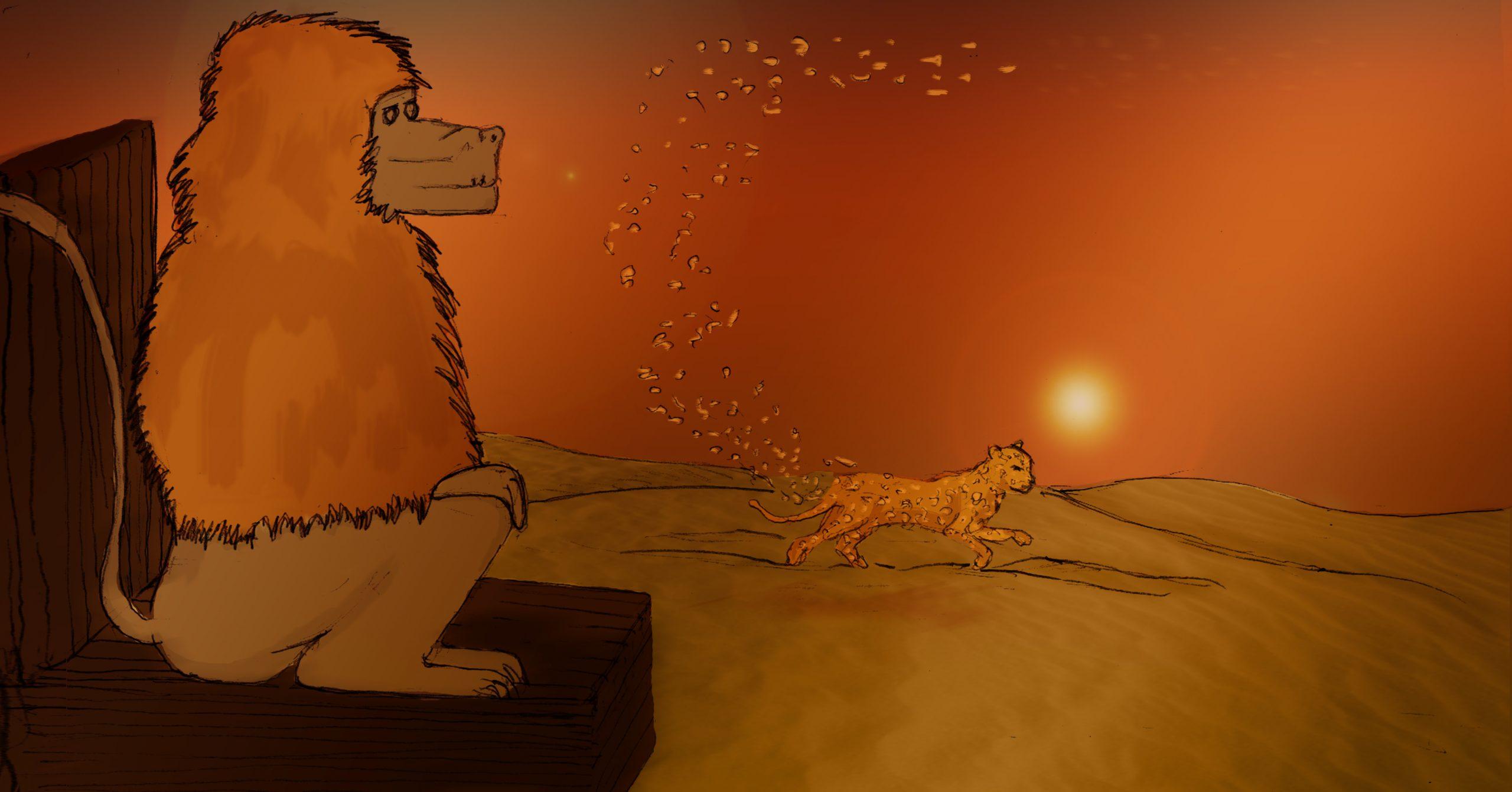 PROJET ESAT/ ILLUSTRATION  Réaliser deux illustrations : Technique libre.Nouvelle choisie: LE LÉOPARD ET SES TACHES  - DEUX DOUBLES PAGES : choisissez un passage de la nouvelle à illustrer.
