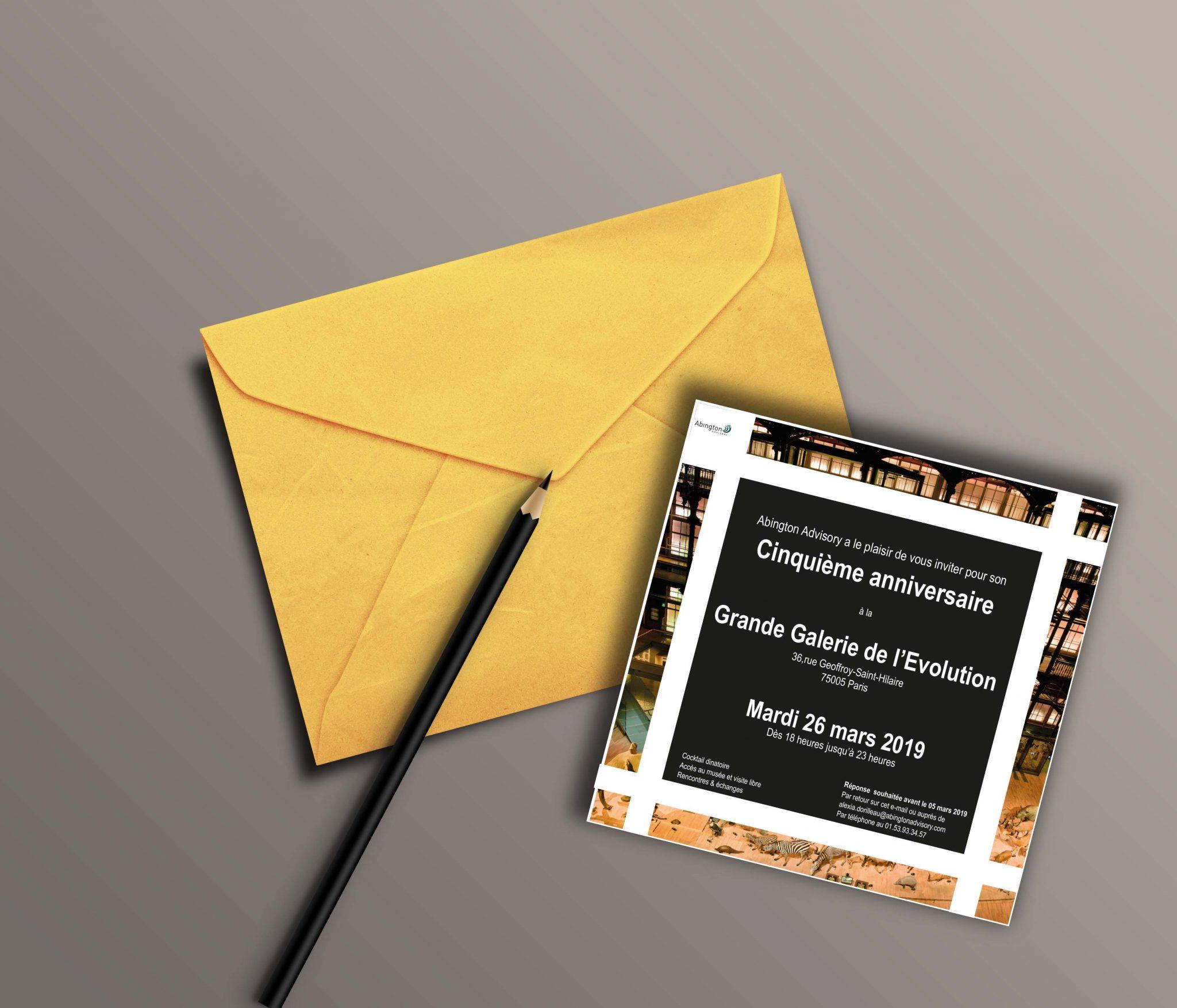 CLIENT: ABINGTON / AGENCE LES PAPILLONS DE JOUR  Carton d'invitation