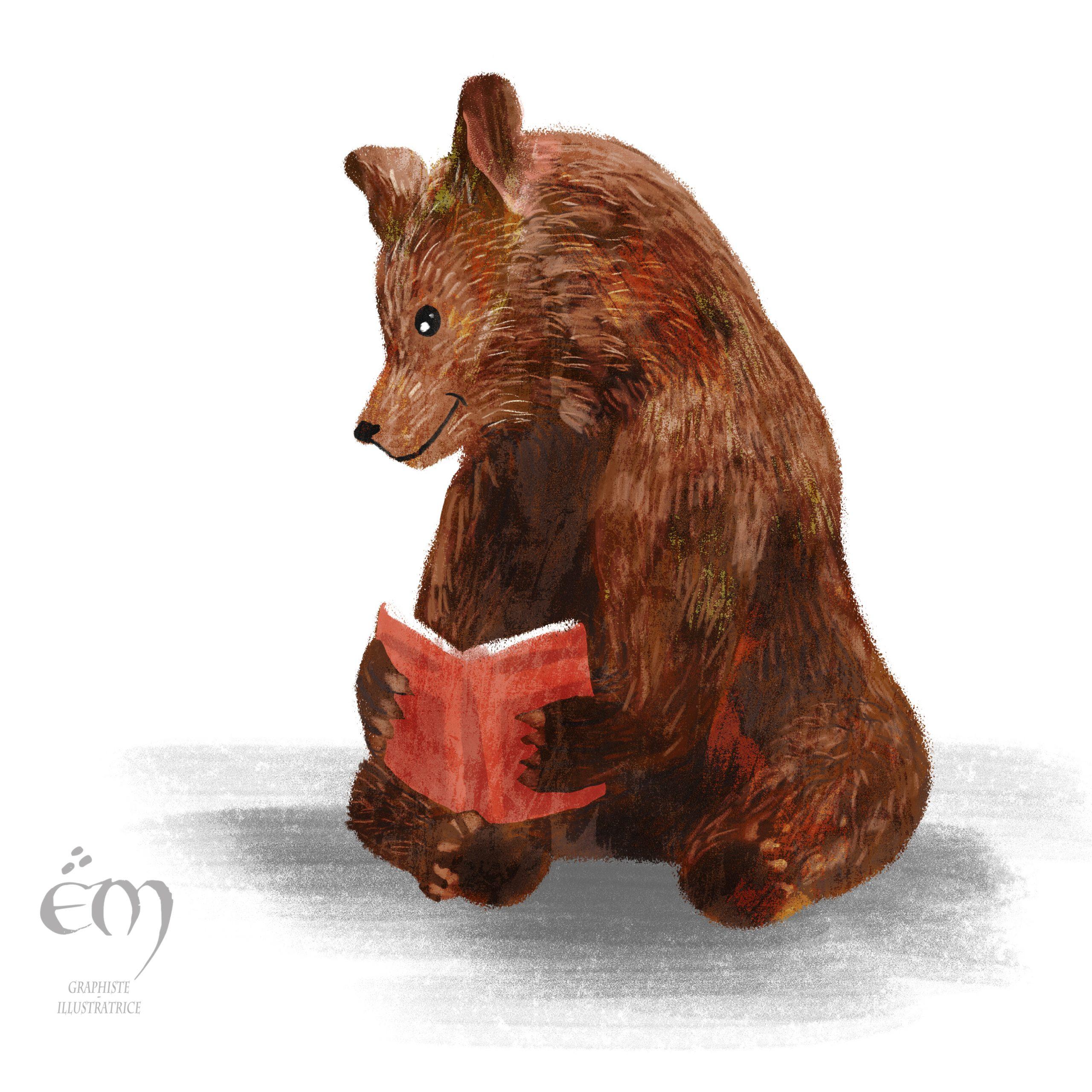 "ANIMAL ILLUSTRATION ""Lire"" Peinture numérique  ""Reading"" Digital painting"