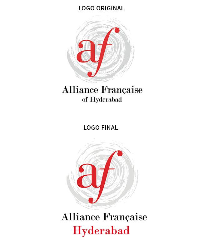 CLIENT: ALLIANCE FRANÇAISE D'HYDERABAD. Refonte du Logo de l'alliance. Du au respect de la charte graphique des alliances française, je me suis concentrée sur la typographie du logo ainsi que sa visibilité.