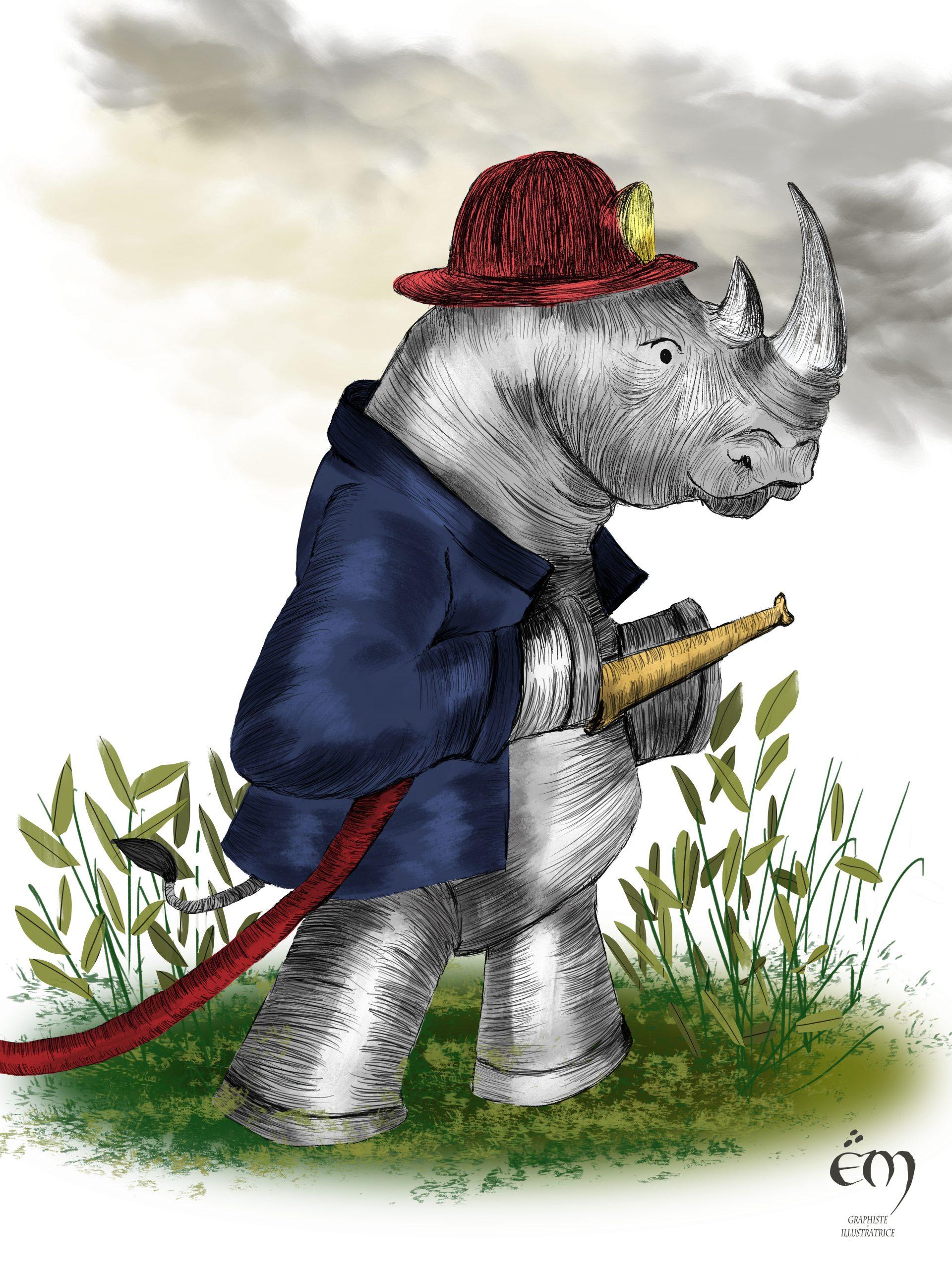 "ANIMAL  ILLUSTRATION ""Le Rhinocéros Pompier"" Peinture numérique  ""The rhinoceros fireman"" Digital painting"