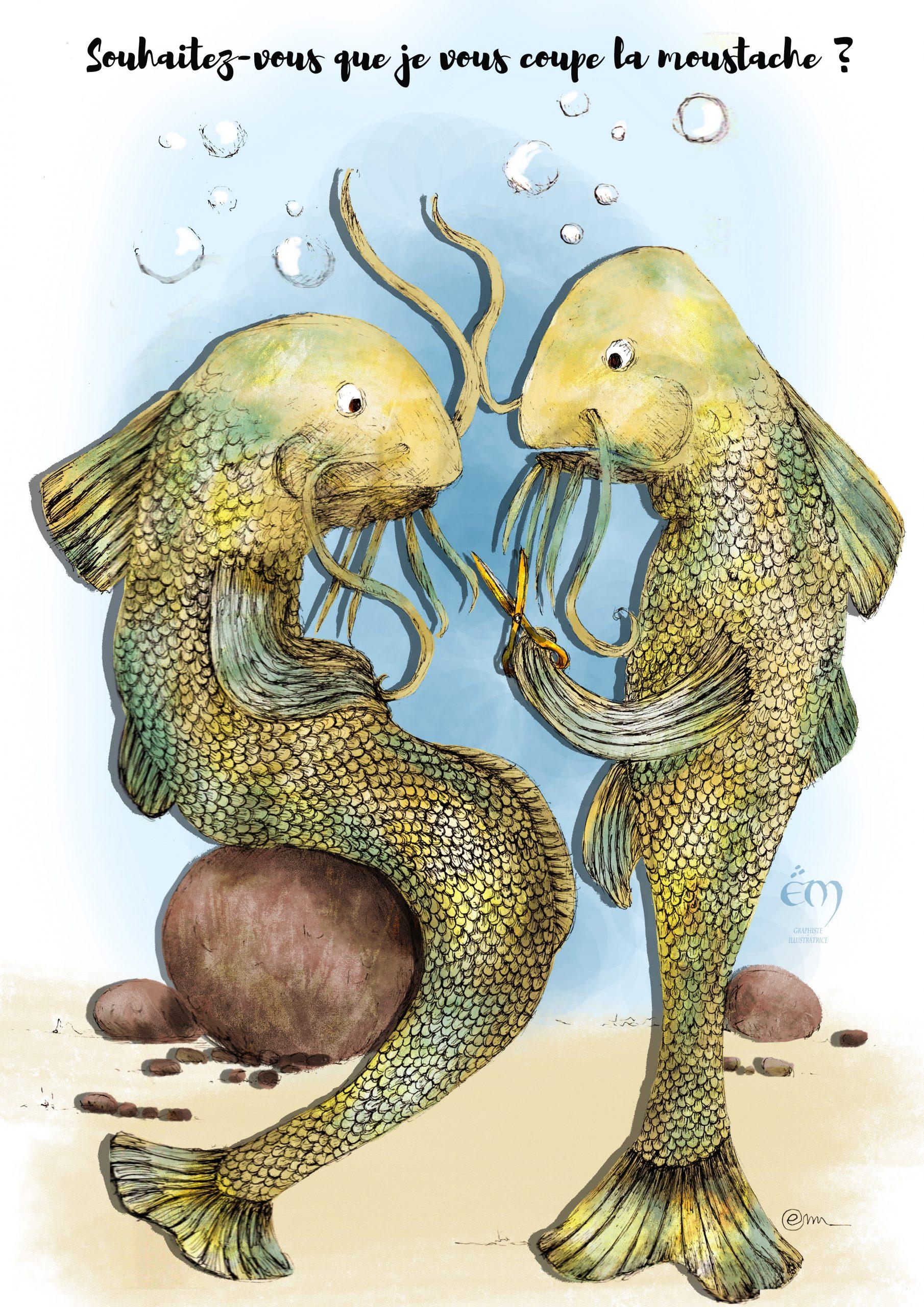 "ANIMAL ILLUSTRATION  ""The Barber fish"" Digital painting"